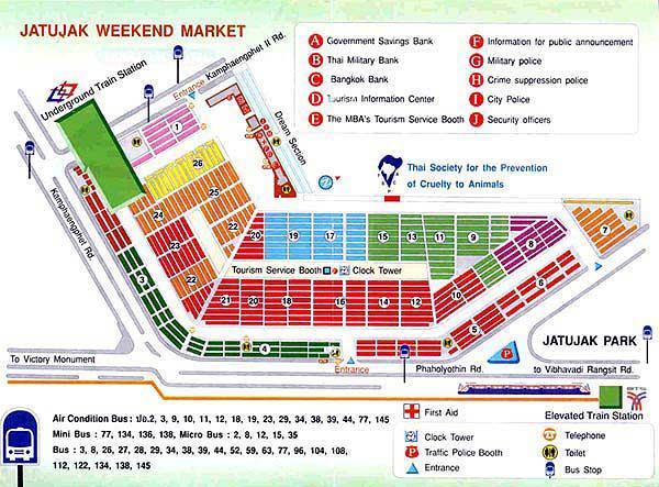 チャトゥチャックウィークエンドマーケットのマップ